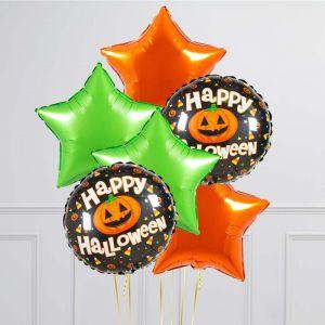 Связка из 6 воздушных шаров на Хеллоуин Звезды и Круг с тыквой Оранжевый Лайм