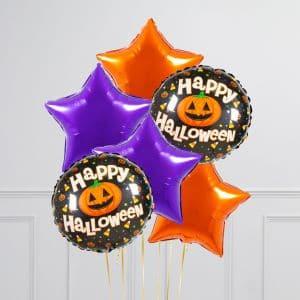 Связка из 6 воздушных шаров на Хеллоуин Звезды и Круг с тыквой Оранжевый Фиолетовый