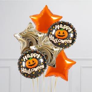 Связка из 6 воздушных шаров на Хеллоуин Звезды и Круг с тыквой Оранжевый Черный мрамор