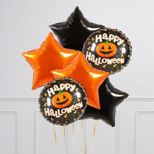 Связка из 6 воздушных шаров на Хеллоуин Звезды и Круг с тыквой Оранжевый Черный