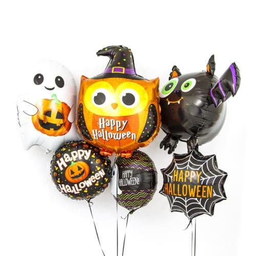 Связка из 6 воздушных шаров на Хеллоуин Круги Звезды Приведение Сова и Летучая мышь
