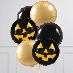 Связка из 6 воздушных шаров на Хеллоуин Круги с тыквой Черный и Золото