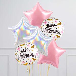 Связка из 6 шаров Гламурный Хеллоуин Розовый и Серебро