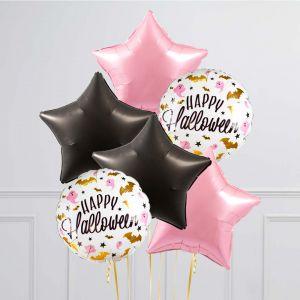 Связка из 6 шаров Гламурный Хеллоуин Розовый с Черным