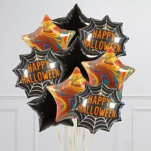 Связка из 9 воздушных шаров на Хеллоуин Звезды Оранжевый Мраморр Черный Надпись