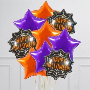 Связка из 9 воздушных шаров на Хеллоуин Звезды Оранжевый Фиолетовый