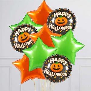 Связка из 9 воздушных шаров на Хеллоуин Звезды и Круг с тыквой Оранжевый Лайм
