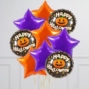Связка из 9 воздушных шаров на Хеллоуин Звезды и Круг с тыквой Оранжевый Фиолетовый