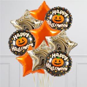 Связка из 9 воздушных шаров на Хеллоуин Звезды и Круг с тыквой Оранжевый Черный мрамор