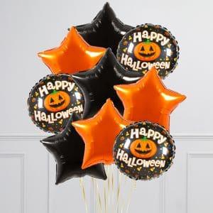 Связка из 9 воздушных шаров на Хеллоуин Звезды и Круг с тыквой Оранжевый Черный