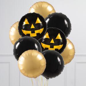 Связка из 9 воздушных шаров на Хеллоуин Круги с тыквой Черный и Золото