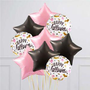 Связка из 9 шаров Гламурный Хеллоуин Розовый с Черным