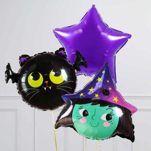 Связки из 3 воздушных шаров на Хеллоуин Летучая мышь котик Голова ведьмы и Звезда