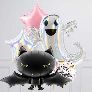Связки из 5 воздушных шаров на Хеллоуин Гламур Летучая мышь Приведение и Звезды