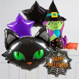 Связки из 5 воздушных шаров на Хеллоуин Голова Кота Ведьма и Звезда